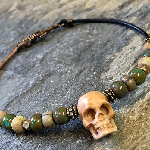 Hand Carved + Skull + Bracelet