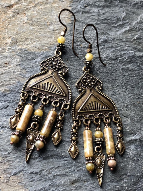 Brass Goddess Earrings With Serpentine