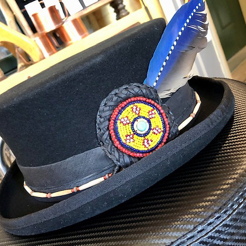 Mad as a Hatter + Wool Top Hat + Beaded Leather Hat Band