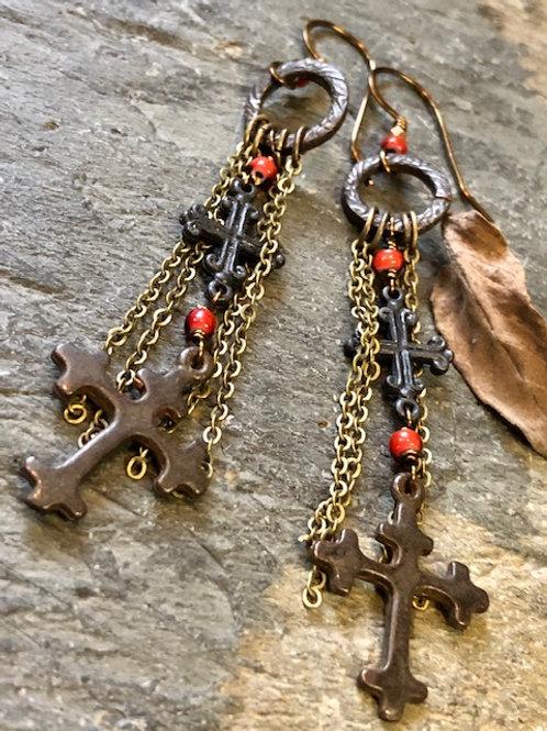 Antiqued Brass Cross Earrings