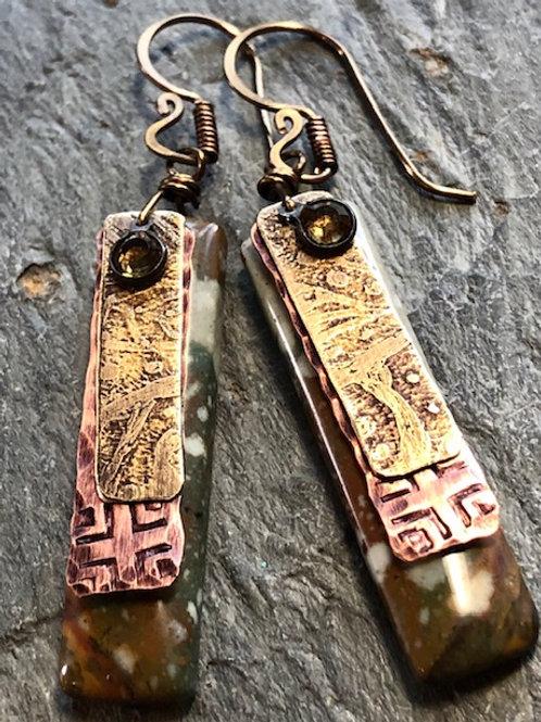 Owyhee Jasper Tablet Earrings