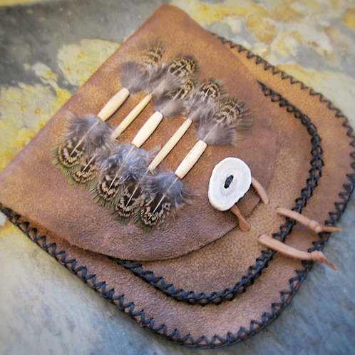 Artisan Created Distressed Leather Belt Pouch