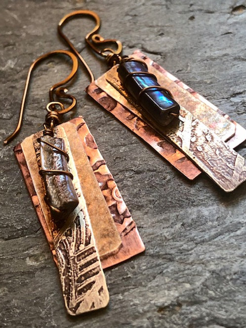 Stamped + Etched + Abalone Earrings