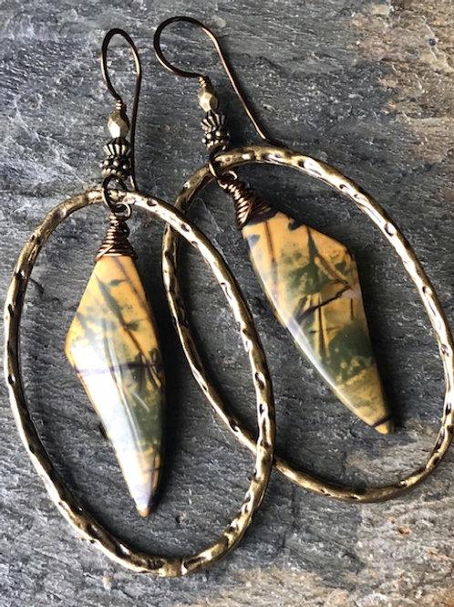Red Creek Jasper +Hoop Earrings