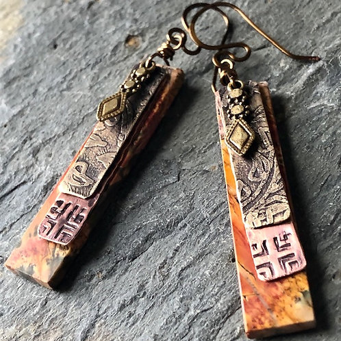 Red Creek Jasper + Etched Brass + Stamped Copper Earrings