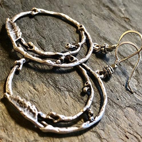 Silver Branch Hoop Earrings