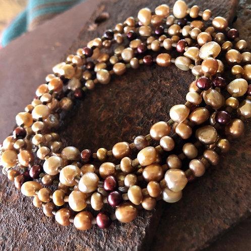 Pearls + Long Necklace + Wrap Bracelet