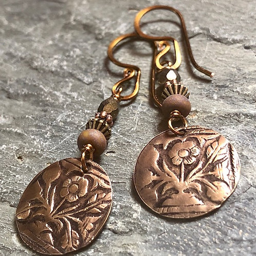 Hand Stamped + Brass Earrings