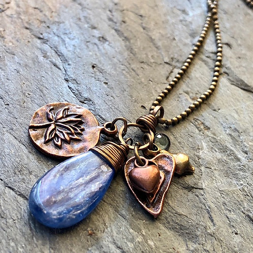 Kyanite + Copper + Charm Necklace