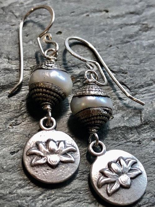 Lotus + Tibetan Silver + Pearl + Earrings