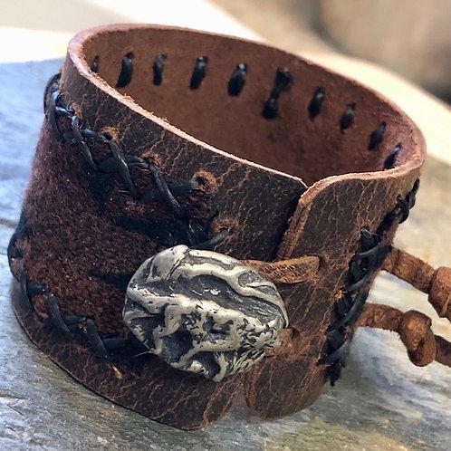 Wolf Medicine + Buffalo Hide + Cuff