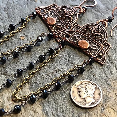 Long Copper Rosary Earrings