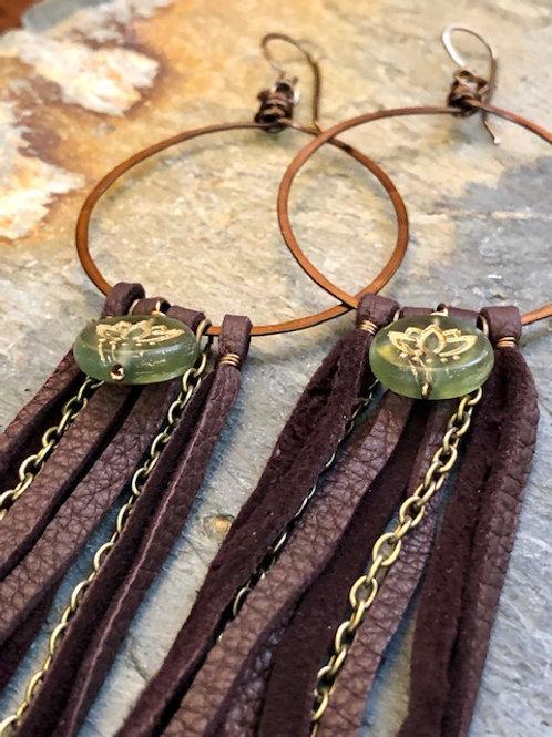 Long + Deer Hide + Lotus Earrings