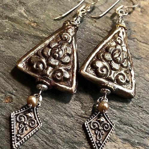 Tibetan Silver Repousse + Turkish Silver + Earrings