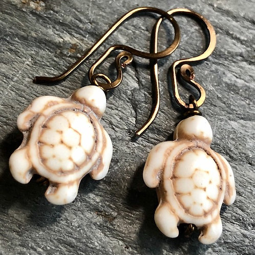 Tiny + Howlite + Sea Turtle + Earrings