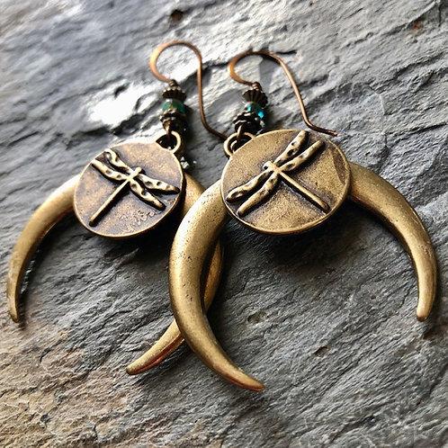 Dragonfly Moon Earrings