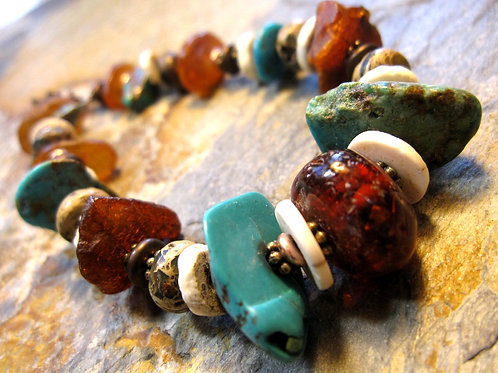 One of a Kind Amber & Turquoise Bracelet