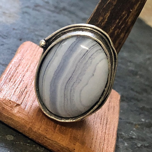 Banded Blue Agate + Ring