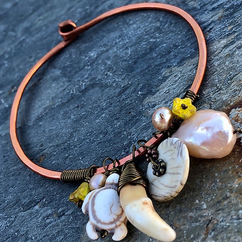 Copper Bangle + Pearl + Shell + Howlite + Coyote Tooth
