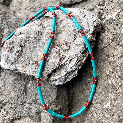 Turquoise And Trade Bead Necklace