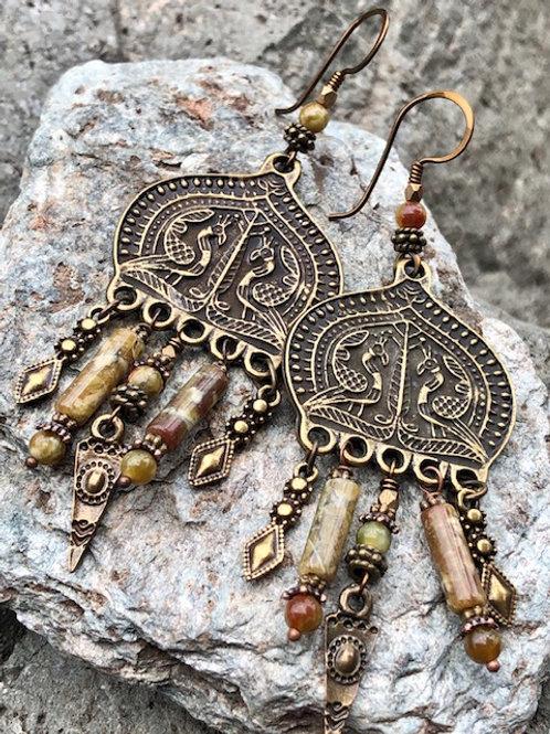 Brass Peacock Earrings