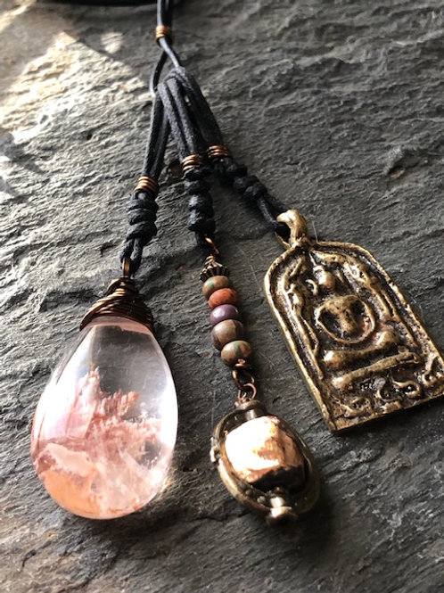 Buddha+ Phantom Quartz + Necklace