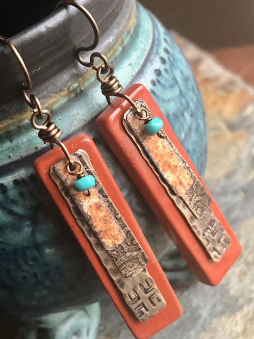 Red Jasper Tablet Earrings With Turquoise