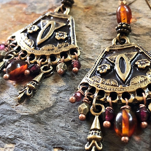 Brass + Amber + Garnet + Goddess Earrings