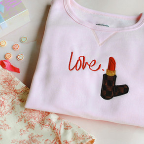 How To Embroider a Sweatshirt: Valentine's Day Inspired