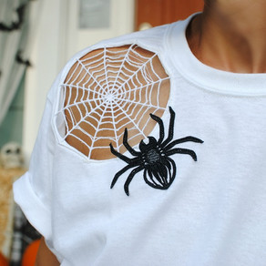 DIY Cut Out Spider Web T-shirt