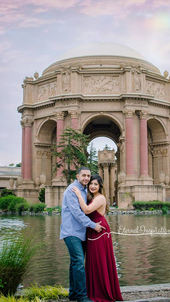SF Palace of Fine Arts engagement photo