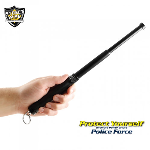 """Police Force 12"""" Expandable Steel Baton w/ Key Ring"""
