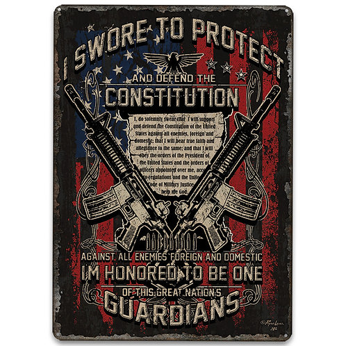 Guardians Of The Constitution Tin Sign - Embossed Features, Weatherproof Finish,