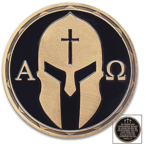 Christian Warrior Challenge Coin - Alpha And Omega - Joshua 1:9 - Crafted Of Met