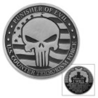 Punisher Of Evil Challenge Coin - Crafted Of Metal Alloy, Detailed 3D Relief On