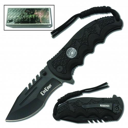 USMC Folding Knife Assisted Open w/Belt Clip & Paracord