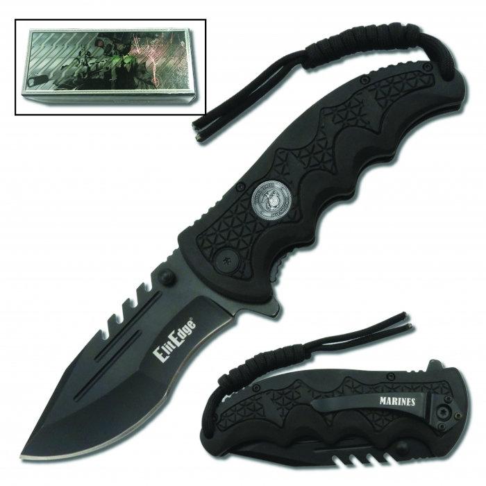 USMC Folding Knife Assisted Open w/Belt Clip & Paracord | SheepDog Society