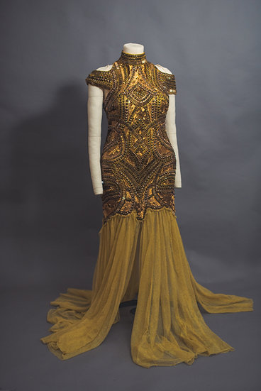 A Star Is Born Beaded Gold Dress