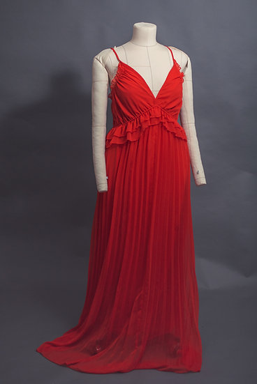 Red Pleated Gown With Ruffles