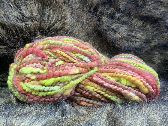 Merino. Hand dyed, coil plied