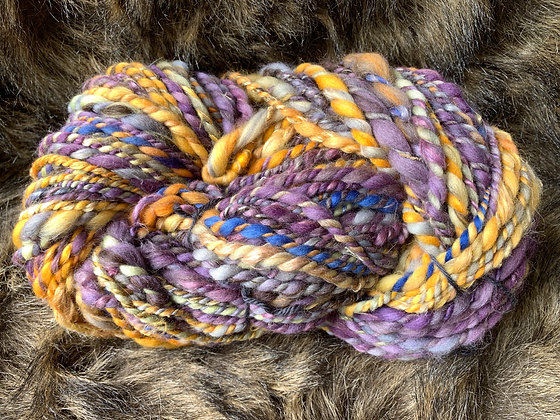 Gold and purple merino yarn
