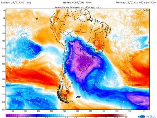 MetSul alerta por histórica ola polar en Brasil, que afectaría a Uruguay la semana próxima