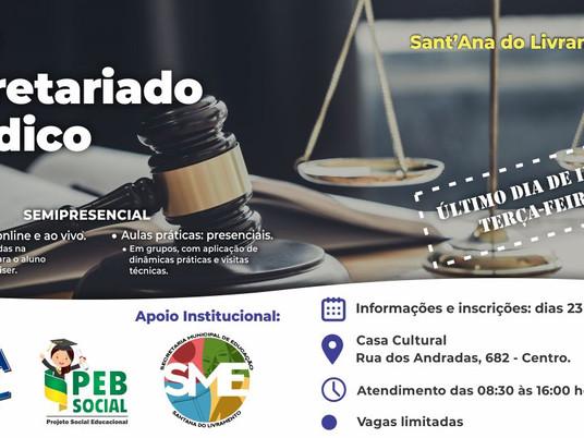 Último dia de inscrições para curso de Secretariado Jurídico em Livramento