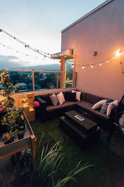 landscape terrace planting evening lighting