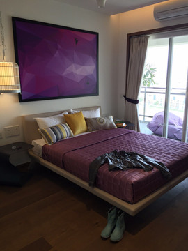 industrial interior design bedroom purpl