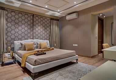 Master Bedroom elegant interiors Mid-Cen