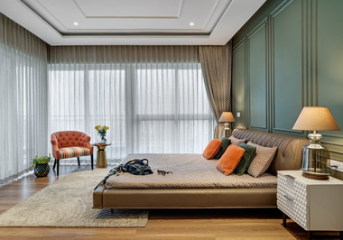 Master bedroom interiors Mid-Century Mod