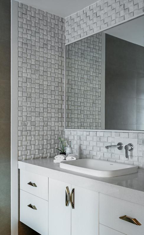 Bathroom Vanity white interiors Mid-Cent