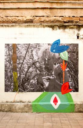Foto em preto em branco, sobreposta a uma parede branca e manchada. Em meio às árvores de galhos finos, Scheila cruza o braço direito sobre o peito, e segura algumas folhas com a mão esquerda, as observando. Sobre a testa de Scheila, está desenhado um elemento circular com uma ponta embaixo, parecido com uma gota invertida. Á esquerda, está desenhado um tronco marrom e amarelo. À direita, estão desenhadas formas grandes, orgânicas e multicoloridas, como duas folhas fusiformes e azuis, e uma flor laranja com três pontas. Abaixo da foto, na parede, está desenhada uma forma grande em dois tons de verde. No centro dela, está um losango vermelho dentro de um losango branco.