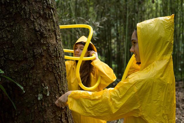 Vestidas com capas de chuva amarelas, duas mulheres seguram tubos de plástico grandes e também amarelos, ao lado de uma árvore de casca grossa. Cada uma aproxima uma ponta do tubo de sua própria orelha e encosta a outra ponta no tronco da árvore, como se o estivessem auscultando. Uma das mulheres, que tem pele clara, e cabelos longos e lisos, está de olhos fechados. A outra, que também tem pele clara, dá um leve sorriso.